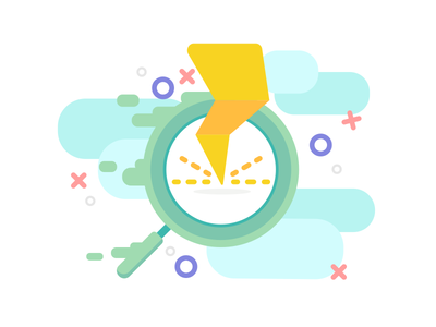 Fragments - Powerfull research flat onboarding feature illustration artwork icon power fast lamp search