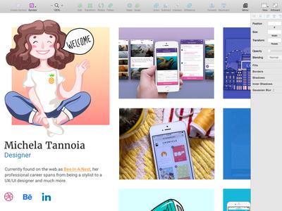 Mini-portfolio progress welcome process onboarding girl illustration ui illo sketch