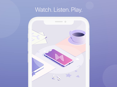 Documents VPN isometric casette netflix spotify apple design device work music cinema coffee cup airpods isometry isometric apple watch ios iphone documents readdle apple design illustration