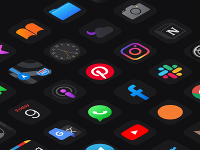 Nocturnal for iOS 14 piinterest podcasts podcast calendar camera photo weather clock maps itunes files books ibooks ios14homescreen home ios14 icons pack icons set iconset icons