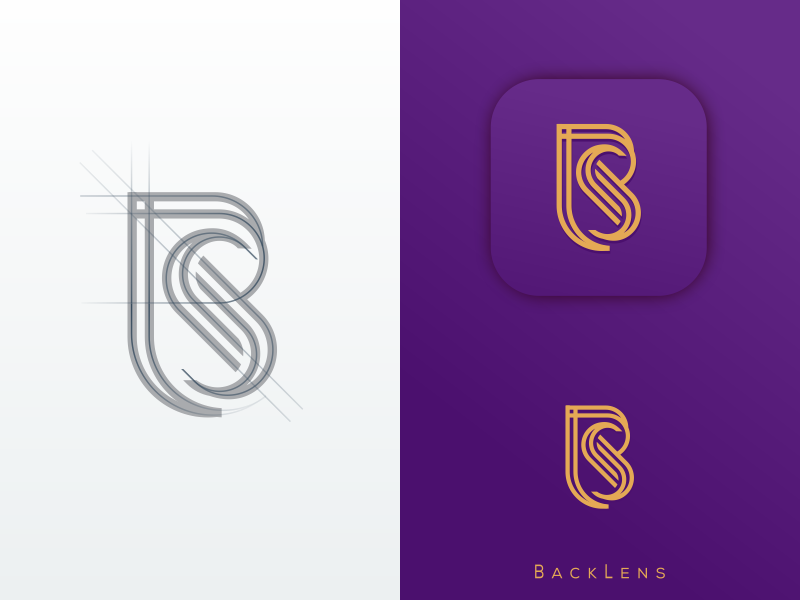 Bls Monogram FOR BACKLENS monoline monogramluxury monogram photography consulting branding company illustration graphich design forsale grid sketch artwork crfeative coreldraw busines card brand identity logo