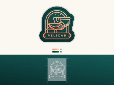 Pelican Line Art monoline pelicanlineart pelican design label consulting illustration company forsale grid sketch crfeative coreldraw busines card brand identity logo