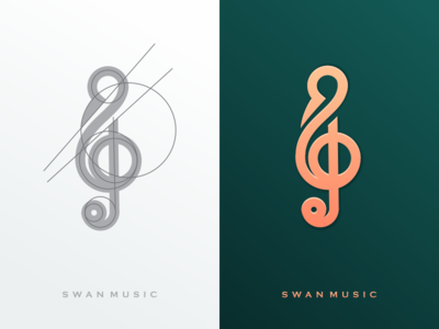 swan music swanluxury luxury monoline swanlineart lineart music swanmusic swan company graphich design forsale grid sketch artwork crfeative coreldraw busines card brand identity logo