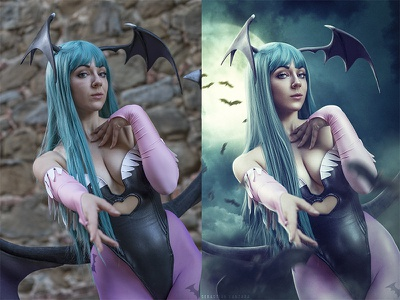 Morrigan poster videogame compositing digital photoshoot texture retouching correction color