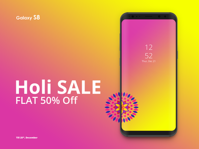 Samsung S8 Mockup web typography ux responsive design digital ui cellphone mobile gradient colors iphone time galaxy s8 s galaxy off sale holi mockups