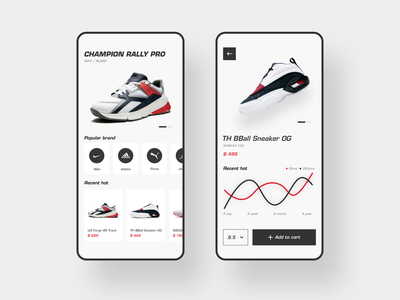 Ahead Of Fashionable shoes trading platform mobile dribbble design app ux ui red and black shoes