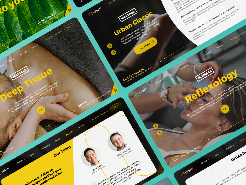 «Urban». Web Application sport creative app design app design web green app green yellow logo yellow team massage urban reflexology deep health spa wellness branding brand
