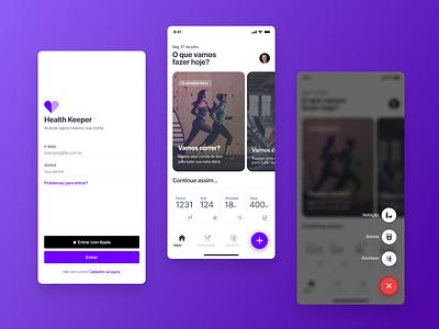 Health Keeper App flat minimal app design ui