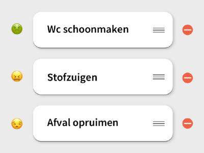 Chores move delete ux design interaction emoji drag list