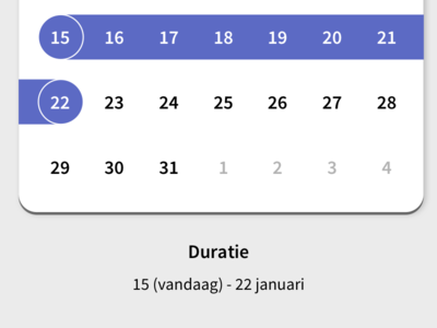 Selecting duration date duration length ux interaction select selection calendar