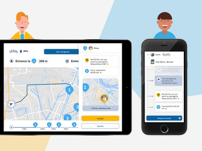Deliverbee devices ux character tablet delivery ui illustration interaction package