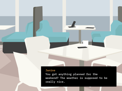 Interactive Story canteen office dialog illustration story interactive