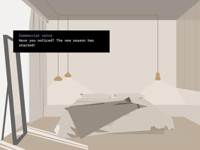 Bedroom scene game conversational mirror shadow light bedroom story interactive