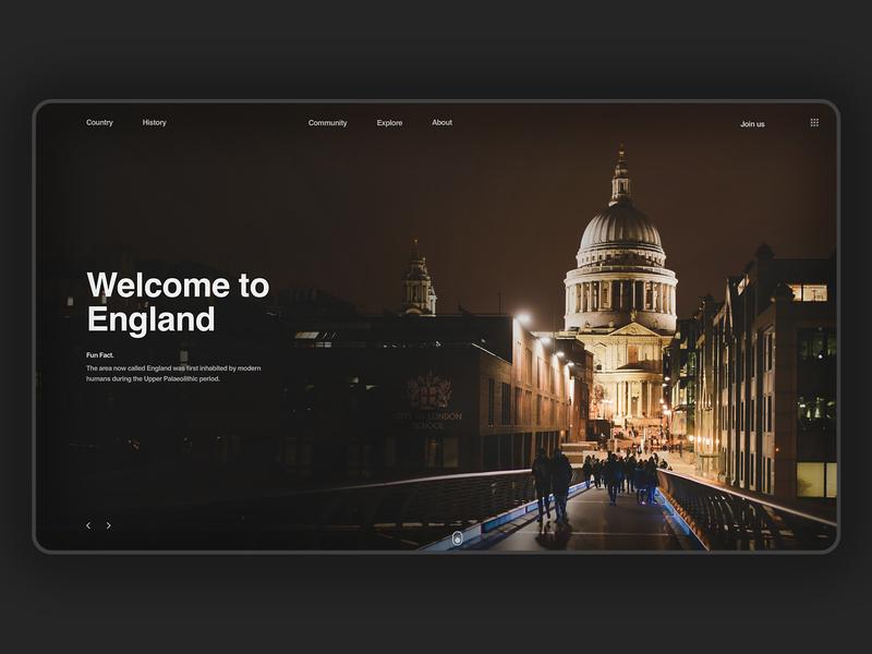 England history travel england dark landing page clean webpage minimalist web design userinterfacedesign uidesign ui ux