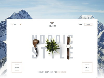 Isbjørn - Gentleman's Store page winter elegant white minimal store shop ecommerce landing www website web