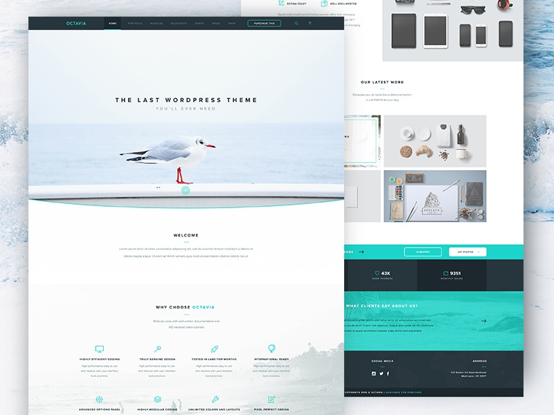 Octavia Landing Page - Free PSD psd white minimal clean www website web homepage page landing freebie free