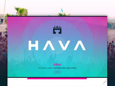 Hava - EDM Radio pink headphones music radio edm homepage page landing design web website www