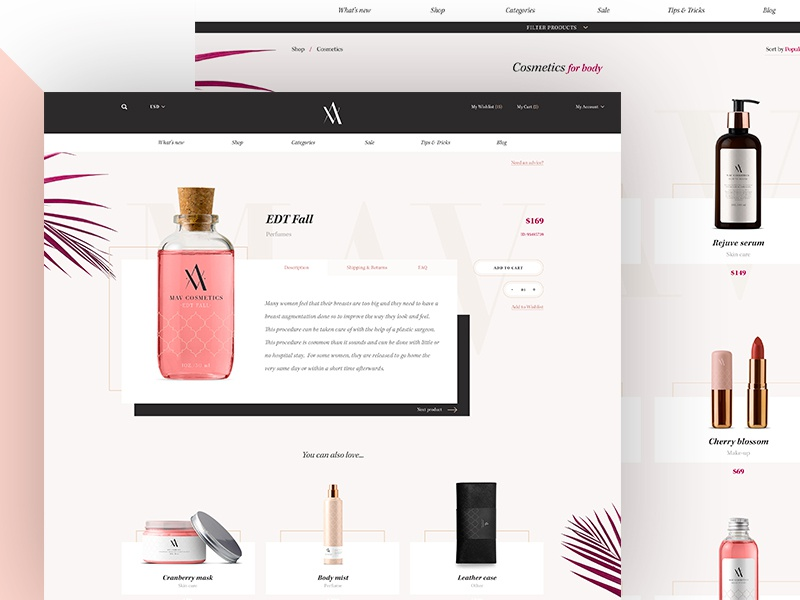 MAV Cosmetics - Product Details & Listing web store shop minimal landing product elegant ecommerce cosmetics classy brand