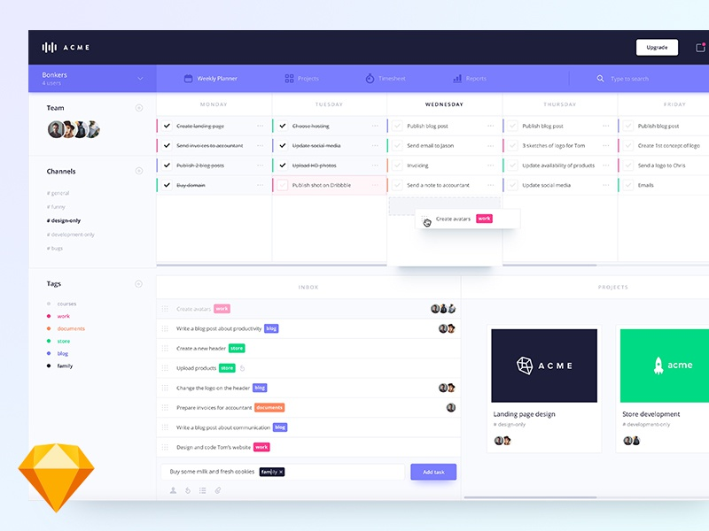 Weekly planner dashboard (.sketch) ux ui interface list tasks todo to-do material freebie free sketch dashboard