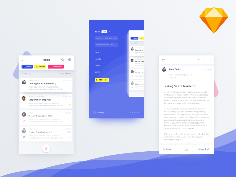 Mail client app (.sketch) sketch email mailbox client mail ios android material app mobile freebie free