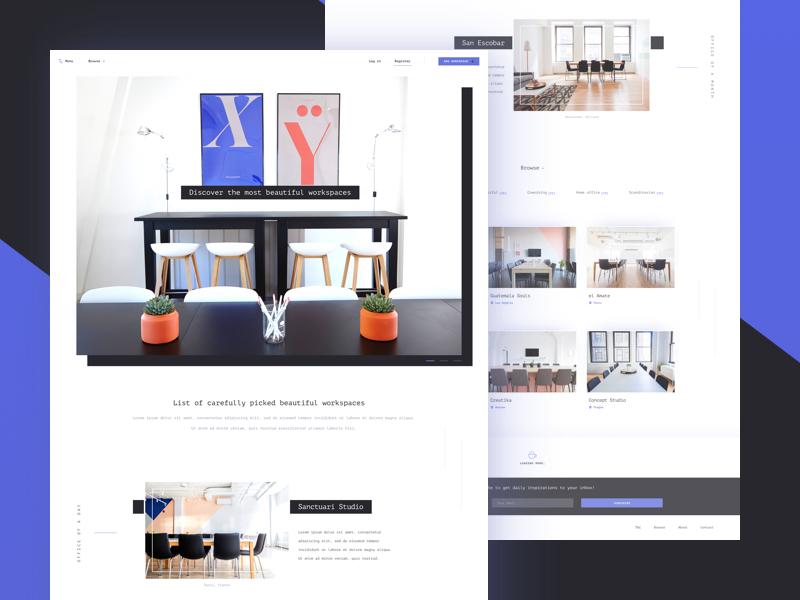 Inspiring workspaces - landing page (.sketch) workspace free freebie homepage landing page office gallery sketch webapp ui ux