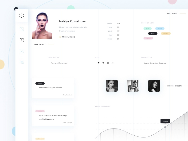 Download Model profile dashboard (.sketch)