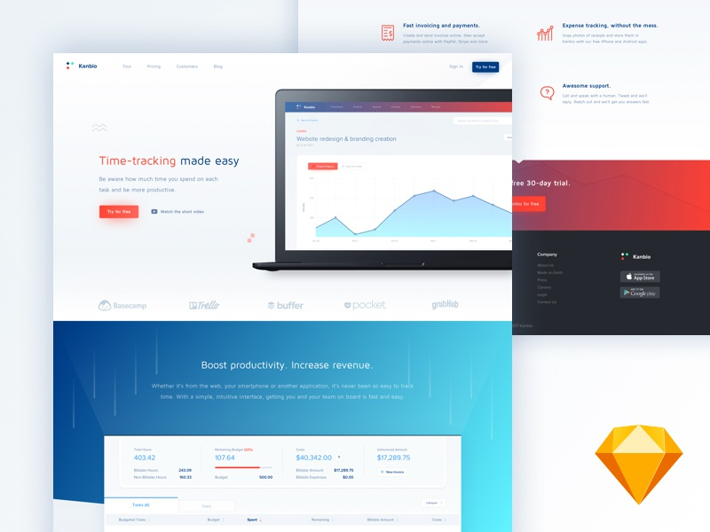 Download Kanbio landing page (.sketch)