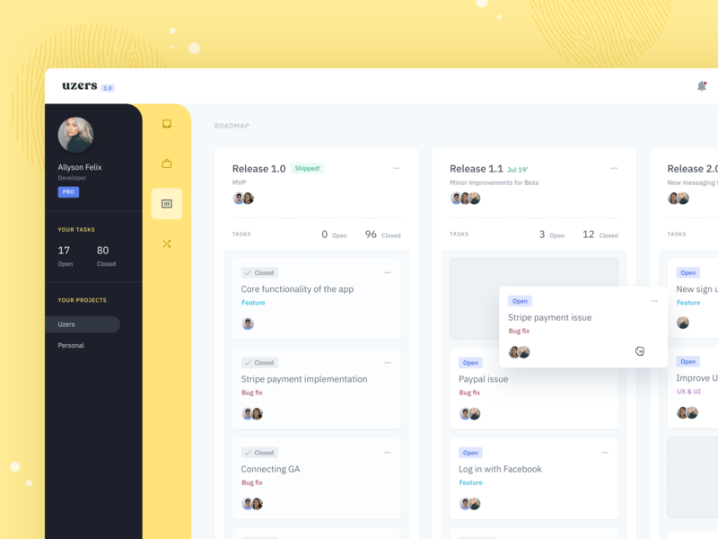 Uzers System WIP 1.1 web design board kanban drag and drop sidebar yellow backlog to-do team management product design trello cards planner ui dashboard