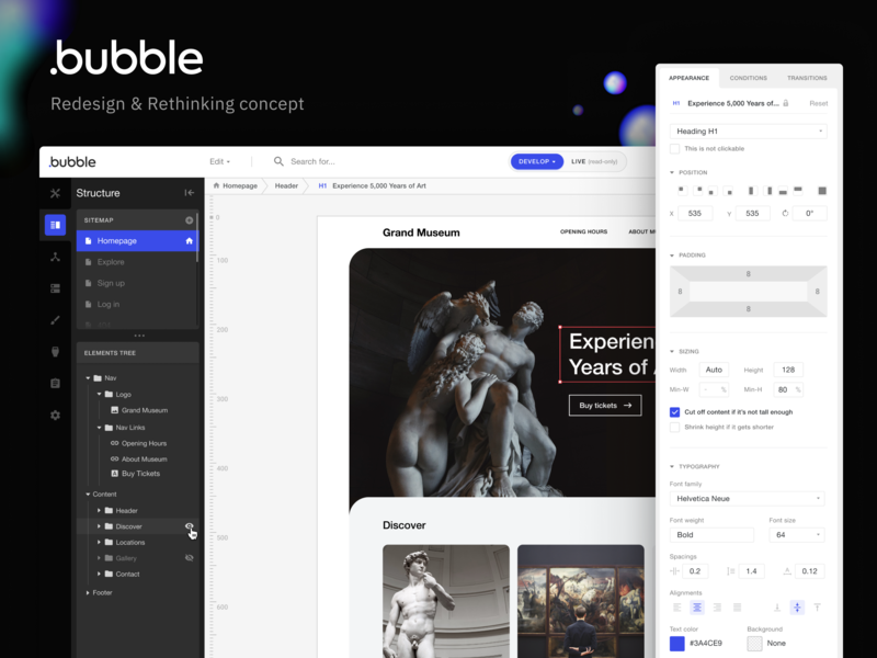 Bubble.is - Redesign & Rethinking Concept builder creator ux design web app web design figma concept redesign black  white interface sidebar properties bubble webflow case study ui design dark ui dark theme editor dashboard