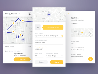 Logistics app android ios app location places marketing sales tracking check-in delivery logistics