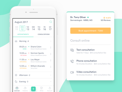 Calendar for Doctor manage booking android ios app doctor schedule events appointments calendar