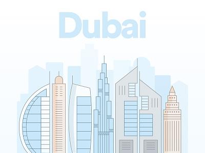 Dubai skyscraper city dubai splash app mobile illustration
