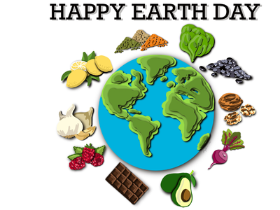Happy Earth Day avocado beets garlic lentils black beans walnuts spinach dark chocolate raspberries lemons earth papercut style healthy foods earth day