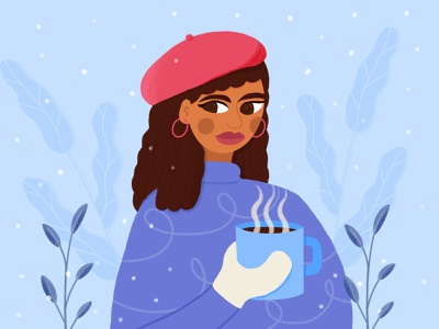 DTIYS Winter Scene leaves procreate challenge dtiys plants character design snow tea coffee woman portrait winter cold character illustration 2d drawthisinyourstyle