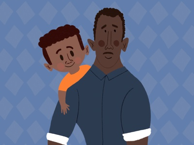 Happy Father's Day black man character design drawing black man boy character people parent parents children father and son fathers day procreate hand drawn handdrawn illustration