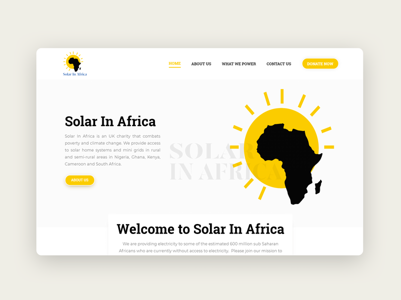 Solar In Africa - Home Page solar energy solar wordpress webdesign landing page landingpage white africa sun yellow