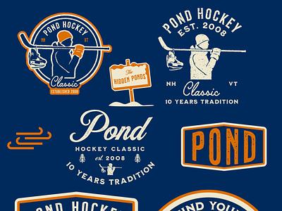 Pond Hockey Classic - initial mocks apparel retro 2d flat sportsdesign vector hockey type badge logo branding hand vintage drawn sports athletics grunge illustration typography design