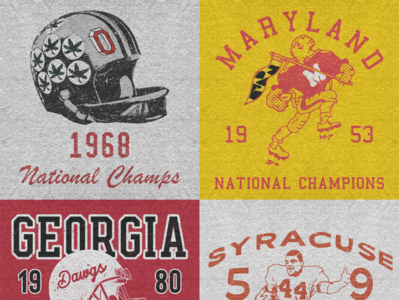 Vintage College Football Championship Tees sports design sports logo branding retro illustration drawn grunge vintage sports athletics typography design
