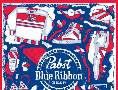 pbr can art submission 2020 retro illustration drawn vintage sports grunge athletics typography design pabst pabst blue ribbon