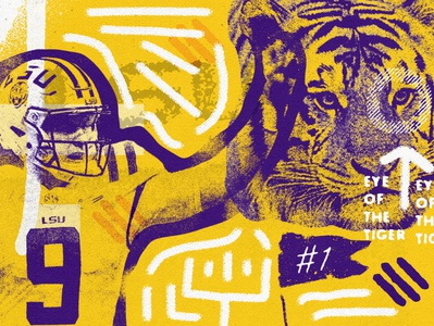 LSU eye of the tiger football distressedunrest illustration vintage branding sportsdesign sports grunge athletics typography lsu football lsu design