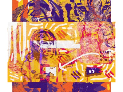 LSU x Clemson distressed football sportsdesign vintage sports grunge athletics typography design