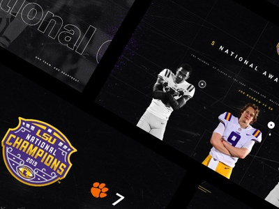 Official LSUsports.net National Championship microsite webdesign football lsu logo ux ui sportsdesign sports grunge athletics typography design