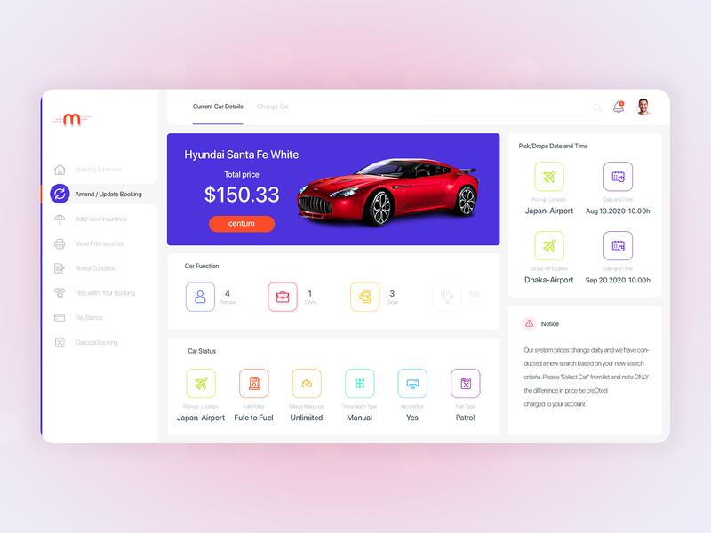 Pre car rental details dashboard website web minimal flat app ui ux design illustration