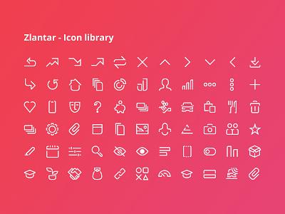 Zlantar - Icon library vector bank graphics ux ui finance app set library icon