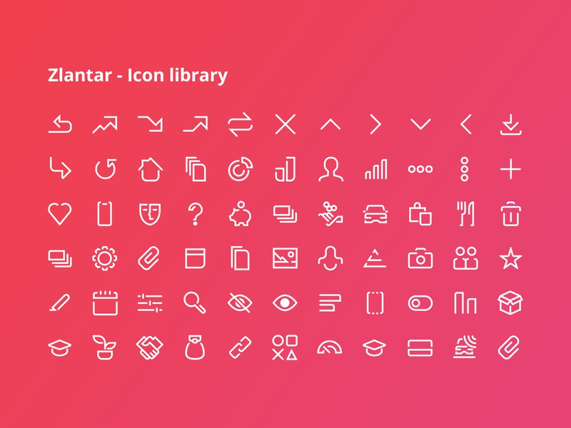 Zlantar - Icon library vector bank graphics ux ui finance app set library icon