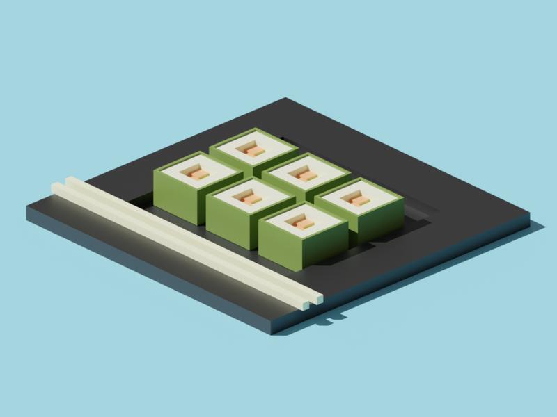 Sushi isometric illustration sushi blender 3d blender