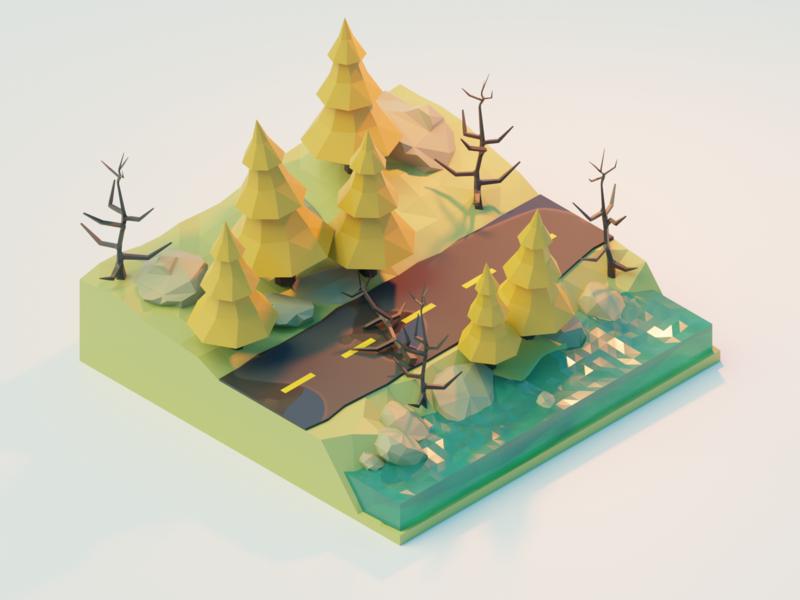 Road pines road illustration isometric blender 3d blender