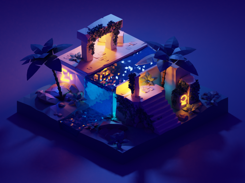 Ruins vines lightning water palmtree ruins isometric illustration blender 3d blender