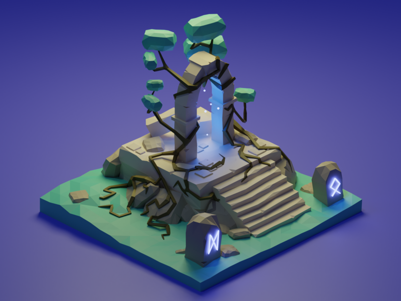 Temple runes glyphs lightning isometric illustration blender 3d blender