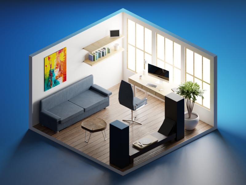 The room desktop sofa texturing lightning isometric illustration blender 3d blender